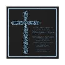 Cross Baptism Christening Boy Baptism Inviation Personalized Invite by