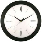 Round Black Frame Wall Clock with White Dial