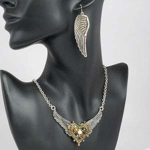 VINTAGE SILVER ANGEL WINGS PEARL CRYSTAL EARRINGS NECKLACE PENDANT