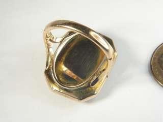 ANTIQUE 15K GOLD HARDSTONE CAMEO RING HERCULES c1800