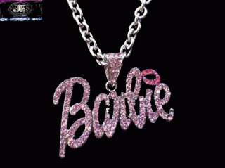 Christmas Gifts Nicki Minaj 2 BARBIE Iced Out Necklace Silver PINK