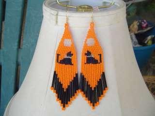 Black Cat Halloween Beaded Earrings