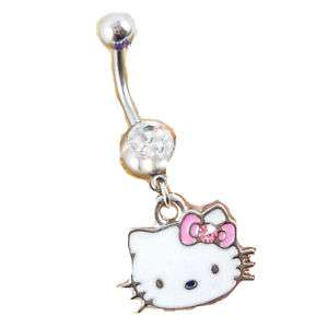 Hello Kitty 316 Surgical Steel Belly Navel Ring Dangle