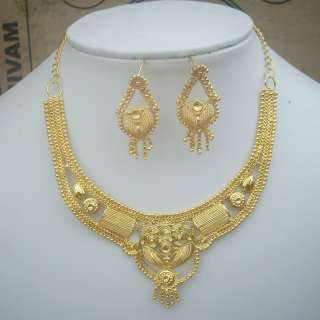 GOLDPLATED) WEDDING BRIDAL CHAIN NECKLACE EARRINGS SET