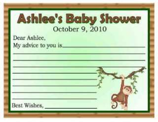 20 MONKEY JUNGLE BABY SHOWER ADVICE CARDS