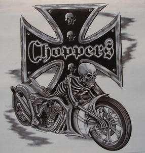 BIKER SKULL MOTORCYCLE CHOPPER / IRON CROSS SHIRT
