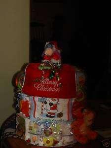 DIAPER CAKE DISNEY EEYORE HOLIDAY CHRISTMAS GIFT BABY