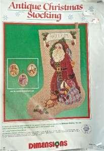 Cross Stitch KIT~ANTIQUE Father Christmas STOCKING~Santa+Toys