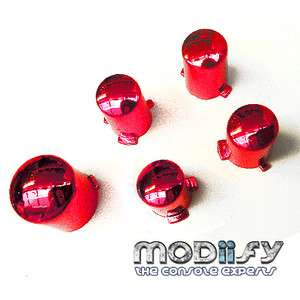Custom Xbox 360 Controller Buttons ABXY Guide Mod Kit (Red Chrome