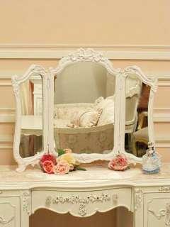 Shabby Cottage Chic White French Tri Fold Desk Mirror