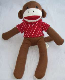 Dan Dee Plush Brown Sock Monkey Red/White Sweater 17 Collectors