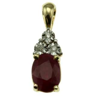 10k yellow gold oval red ruby and 3 diamond pendant