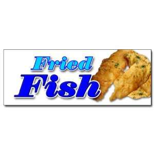 48 FRIED FISH DECAL sticker fry fish deep seafood sea food fresh