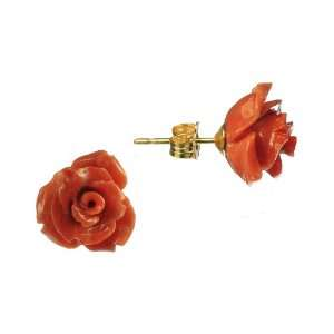 Flower Shaped Red Coral Gold Filled Posts Stud Earrings Jewelry