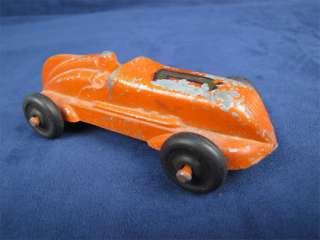 Vintage Die Cast Race Car Rubber Wheels Driver Orange