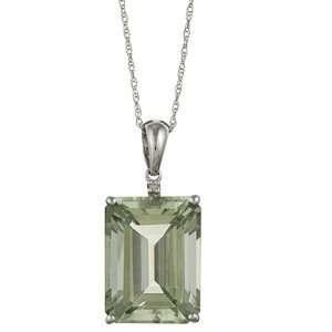 Emerald Cut Green Amethyst and Diamond Pendant Necklace Jewelry
