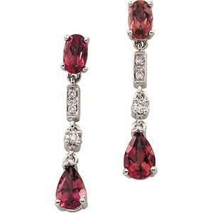 14K Yellow Gold Earrings. Genuine Pink Tourmaline And Diamond Earring