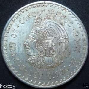 1948 Cuauhtemoc Cinco (5) Pesos MEXICO Silver Coin