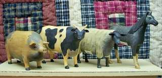 PRIMITIVE RESIN FARM ANIMALS: COW, HORSE, PIG OR SHEEP