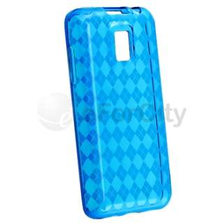Blue White Purple Case+Privacy LCD For LG T Mobile G2X