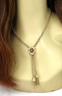 VINTAGE 14K GOLD & GEMS LARIAT STYLE LADIES NECKLACE