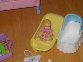You are bidding on a Lot of Barbie Happy Family, includes the Crib