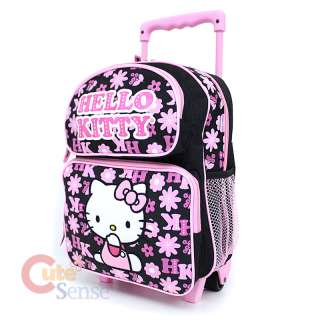 Sanrio Hello Kitty School Roller Backpack Black Pink Flowers Small