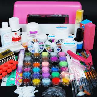 9W UV pink dryer lamp 30 color Acrylic Powder Nail Art Kit gel tools