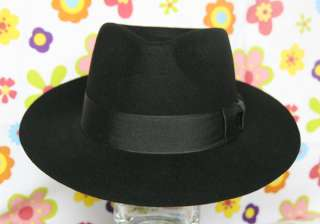 MICHAEL JACKSON black Fedora Wool Hat Classic Costume