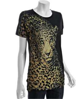 Torn black leopard printed jersey boyfriend t shirt   up to 70