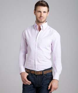 Brunello Cucinelli lilac pinstripe cotton button down shirt