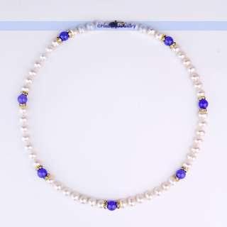 Freshwater White Pearl Necklace Earrings Bracelet Set