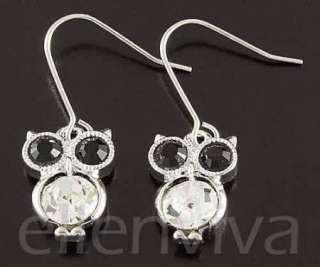 Cute Big Eyes Owl Animal Dangle Earrings New #eg184sv