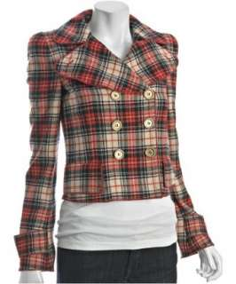 red plaid wool double breasted jacket