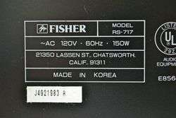 Fisher AM FM Stereo Receiver RS 717 Amp Amplifier Tuner