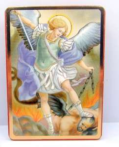 Archangel Catholic Religious Wood Office Desk Stand 3 1/2 High
