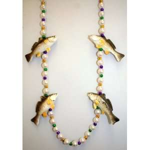 Speckled Trout Mardi Gras Bead   42 Inch: Toys & Games