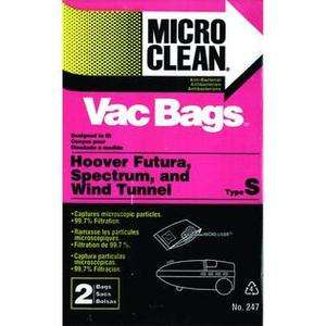 MICRO CLEAN~HOOVER~Vacuum Bags~TYPE S~NEW~2 Bags~FUTURA SPECTRUM WIND