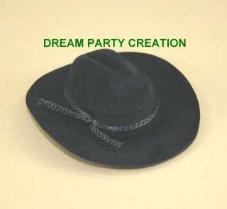 1c2a7bf84ff ... Mini BLACK Felt COWBOY HAT Wedding Party   Favor Decoration ...